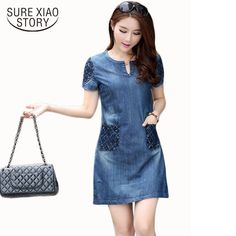 Denim Dress For Women With Pocket. Vestido JeansCasual DressesDress  OutfitsFashion ... 039f26f15