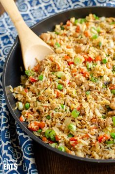 Better than takeout low syn Chicken Fried Rice - satisfy your cravings with this ready in less than 20 minutes dish! - dairy free, gluten free, Slimming World and Weight Watchers friendly Slimming World Chicken Recipes, Ground Chicken Recipes, Healthy Chicken Recipes, Rice Recipes, Dinner Recipes, Cooking Recipes, Slimming Recipes, Delicious Recipes, Lunches