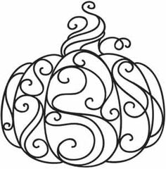 Whirls and swirls make up this enchanted pumpkin, perfect for autumn shirts and decor! Downloads as a PDF. Use pattern transfer paper to trace design for hand-stitching.