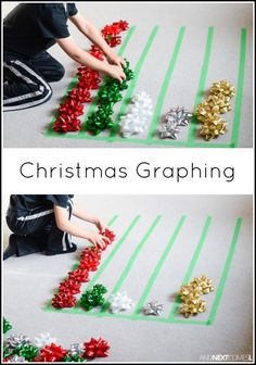 Activity: Graphing with Gift Bows Christmas graphing math activity for kids from And Next Comes LChristmas graphing math activity for kids from And Next Comes L Math Activities For Toddlers, Christmas Activities For Kids, Math For Kids, Kids Christmas, Christmas Crafts, Simple Christmas, Xmas, Graphing Activities, Kids Fun
