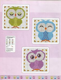Angela Embroidery: Good afternoon lindassss people see these corujinhas that beautiful . Cross Stitch Owl, Cross Stitch For Kids, Cross Stitch Animals, Cross Stitch Charts, Cross Stitching, Cross Stitch Embroidery, Modern Cross Stitch Patterns, Cross Stitch Designs, Cross Stitch Pictures
