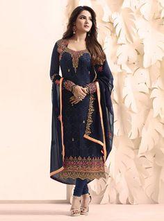 Shop Designer Churidar Suits and Churidar Kameez Online Pakistani Fashion Party Wear, Indian Fashion Dresses, Pakistani Bridal Dresses, Dress Indian Style, Pakistani Dress Design, Indian Designer Outfits, Indian Outfits, Indian Clothes, Bridal Lehenga