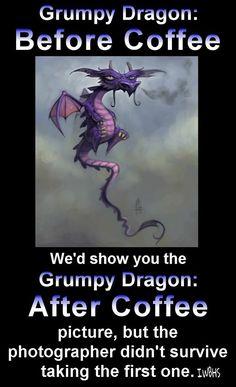 Ahahahahahaha! Cutie pie Dragon tries to pretend he's a coffee addict like me! :)