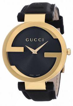 a85bf909a3b Gucci Unisex YA133312 Interlocking Analog Display Swiss Quartz Black Watch   1