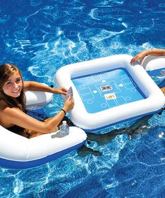 Game Station & Chair Float Set » I'm not gonna lie, I really want this! :) I foresee many fun summer days spent playing cards while being fully immersed in the water!