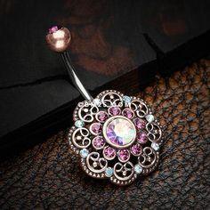 Vintage Rustica Filigree Floral Sparkle Belly Button Ring-Copper/Purple/Aurora Borealis