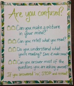 Confusion Self-Check Reading Response, Reading Intervention, Guided Reading, Reading Help, 5th Grade Reading, Anchor Charts, Reading Workshop, Reading Comprehension, Language Arts