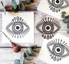 👁New mini evil eye print👁 printed on deckled edge stonehenge paper. I actu… 👁New mini evil eye print👁 printed on deckled edge stonehenge paper. I actually really enjoyed carving this little lino cut this morning, I… Diy Stamps, Evil Eye Art, Arte Indie, Tattoo Und Piercing, Linocut Prints, Art Prints, Future Tattoos, Printmaking, Art Drawings
