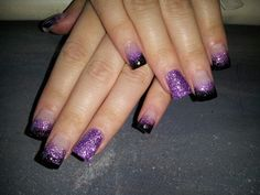 Tammy Taylor product. Sculpted, no tips. Hand filed, no drill. Glitter added to clear acrylic. Nails by me...Sandra