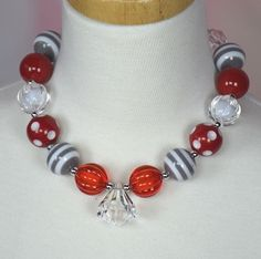 Gray and Red Chuncky Necklace $6.99 at www.gabskia.com