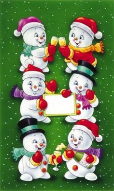 HOLIDAY SNOWMEN WITH BLANK SIGN •
