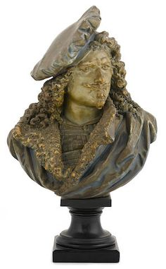 A French painted terracotta bust of Rembrandt after a model by Albert-Ernest Carrier-Belleuse (French, 1824-1887) circa 1900