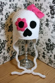 Crochet Pattern for Girl Skull Earflap - via @Craftsy 4.00