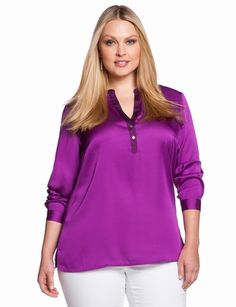 Henley Tunic Blouse | Plus Size Tunics | eloquii by THE LIMITED