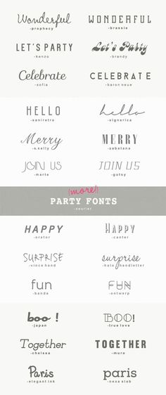 25 more great fonts for parties 25 (MORE!) GREAT PARTY FONTS {A Subtle Revelry} The post 25 more great fonts for parties appeared first on Film. Great Fonts, Fancy Fonts, Cool Fonts, Typography Letters, Typography Design, Hand Lettering, Tattoo Typography, Font Tattoo, Hamsa Tattoo