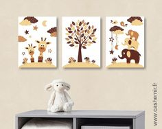 Affiche pour bébé enfant illustration bébé poster garçon décoration chambre girafe éléphant savane réf.114 : Décoration pour enfants par cashemir