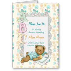 ABC Teddy Shower Invitation - Peach and Aqua Greeting Cards