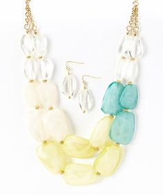 Look at this #zulilyfind! Gold & Yellow Beaded Necklace & Drop Earrings by Mystique #zulilyfinds
