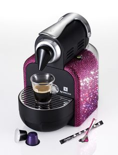 Nespresso Limited Edition Sparkle Pink Essenza an espresso machine in Swarovski crystals.  If only I liked coffee!!!