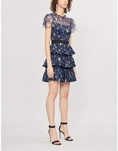 Self-Portrait Tiered star satin and tulle mini dress Party Dresses For Women, Formal Dresses, Selfridges & Co, Star Print, Fit And Flare, Cold Shoulder Dress, Tulle, Dress Up, Chiffon