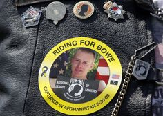 The image of Army Sgt. Bowe Bergdahl of Hailey, Idaho, who is being held captive in Afghanistan, is worn by an audience member as his father, Bob (not pictured), speaks at the the annual Rolling Thunder rally for POW/MIA awareness, in Washington, Sunday, May 27, 2012.