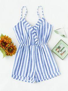 Blue Striped Sleeveless Foldover Knot V Back Romper