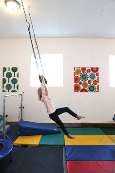 This would be very nice, but I am grateful to have a panel mat, mini trampoline, 2 yoga mats, and a homemade beam mat for under $10!! (I have a tutorial on how to make the beam mat on my gymnastics board)