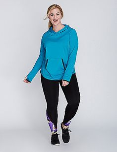 This LIVI Active hoodie is ultra comfy thanks to a soft fleece interior. Plus wicking benefits: supportive stretch fabric that's fade-resistant, moisture-wicking and quick-drying. Overlap neckline. Thumbholes in sleeves. Front pocket. lanebryant.com