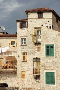 Historic tall houses in downtown Sibenik, Croatia