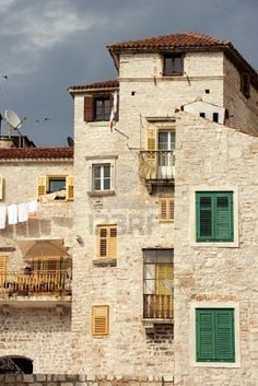 Historic tall houses in downtown Sibenik, Croatia
