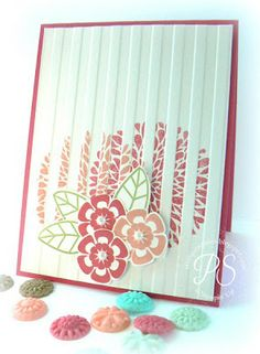Betsy's Blossoms ... trio of die cut flowers popped up on card front ... large flower image stamped onto the embossing folder made lines of design in the debossed stripes of the wide stripe EV ... luv that look!! ... Stampin' Up!