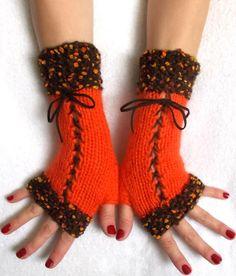 Warm Fingerless Gloves Corset Wrist Warmers in Orange by LaimaShop