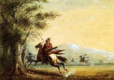 Indians in Pursuit - Alfred Jacob Miller kp Native American Art, American Artists, Jacob Miller, American Frontier, Virtual Museum, Bizon, Indian Artist, Historical Art, Mountain Man