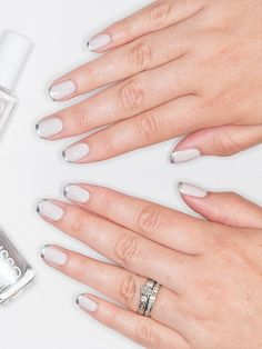 Go for an off-white, chrome french manicure on your wedding day with this bridal-worthy nail color choice.