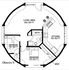 The Oberon, named for one of the moons of Uranus, is an 804-square-foot home. The flexibility of this size dome has resulted in several floor plan layouts created by our design department.