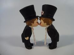 Same Sex Couple Wedding Cake Topper Groom & Groom Kissing Gay Pride Cake Topper