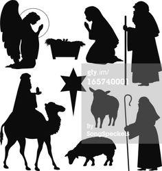 Vector Art : Christmas Nativity Silhouettes