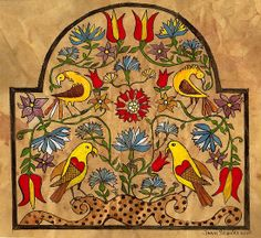 Distelfinks and FLowers from 18th Century Fraktur by valleydeutsch