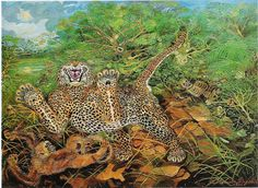 panther and monkey- antonio ligabue Henri Rousseau, Wildlife Paintings, Oil Paintings, World Of Fantasy, Ares, Art Database, Oil Painting Reproductions, Impressionist Art, Naive Art