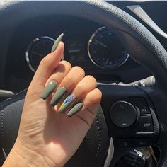 The coffin nails shape is a great choice to accent your personalty and attribute with it's delicate figure trimming. If you have no idea of choosing. Aycrlic Nails, Coffin Nails, Hair And Nails, Fall Nails, Olive Nails, Matte Olive Green Nails, Crome Nails, Acryl Nails, Best Acrylic Nails