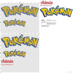 Pokemon logo cross stitch pattern two sizes (click to view)