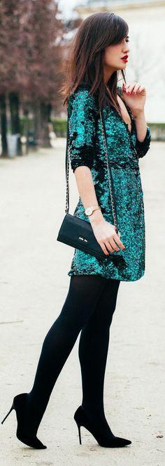 Emerald Sequin Little Dress
