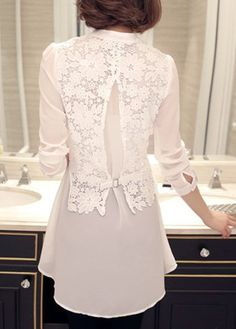 Tops for Women Lace Panel Asymmetric Hem Long Sleeve White Blouse Trendy Tops For Women, Blouses For Women, Blouse Styles, Blouse Designs, Looks Plus Size, Embroidery Fashion, Blouse And Skirt, Lace Tops, White Long Sleeve