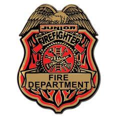Jr Firefighter Plastic Badge w/Clip
