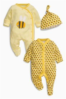 Yellow Bee Sleepsuits Two Pack With Hat (0mths-2yrs)