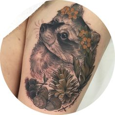 """petalspuppet: """" Cute Raccoon for Georgie, her first tattoo! Sat like a trooper, sorry for hurting you girl X #tattoo #neotrad #tattoos #neotraditional #neotraditionaltattoo #neotraditionaltattoos #uktattoo #detailedtattoo #girlswhotattoo..."""