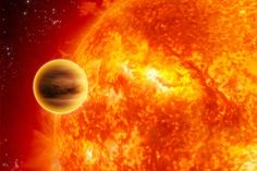 The first Hot Jupiter was 51 Pegasi b, found by Mayor and Queloz in 1995.  It has a mass ½ Jupiter and orbits at 1/7th the orbital distance of Mercury. Learn more about Hot Jupiter discoveries: http://www.space-pictures.com/view/pictures-of-planets/exoplanets/hot-jupiter.php