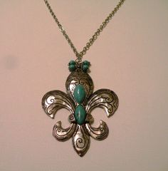 Turquoise & Antique Silver Large Pendant Necklace by OneOfAKindDesignsByD on Etsy