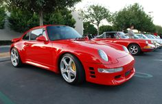 Red Porsche 993 turbo valência _with RUF dianteira e wheels_Cars & Coffee_November 10, 2012