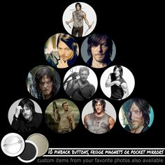 Norman Reedus Set Of 10 Pinback Buttons Or Magnets Or Mirrors Walking Dead #1519